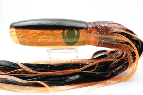 "Moyes Lures Orange Awabi Shell Black Back Large Wave Killer 14"" 13oz Skirted"