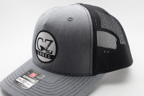 Richardson Heather Grey-Black Five Panel Curved Visor Trucker