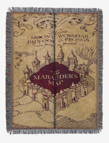 HARRY POTTER MARAUDER'S MAP TAPESTRY THROW BLANKET