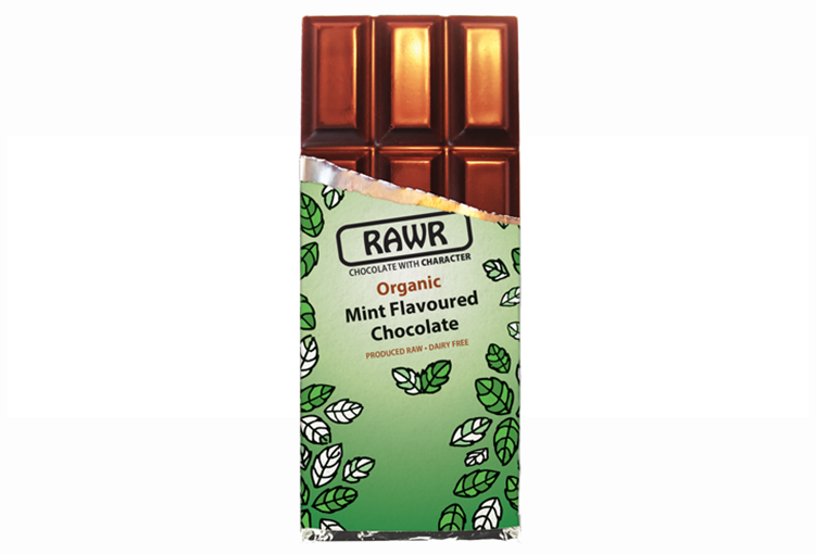 RAWR fair-trade organic mint chocolate bar 68%