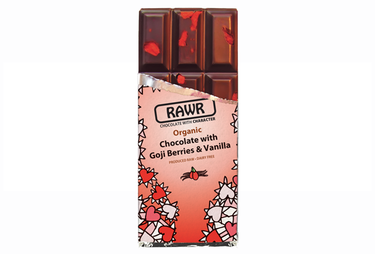RAWR fair-trade organic goji & vanilla chocolate bar 68%