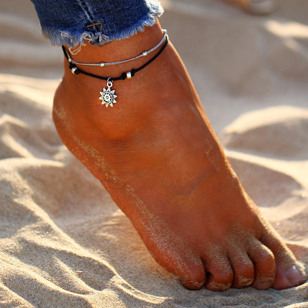 Vintage Boho Multi Layer Beads Anklets
