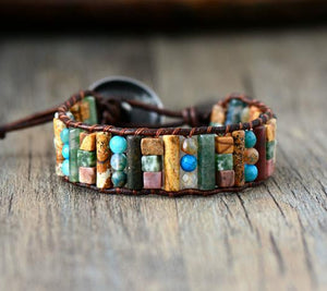 Handmade Natural Stone Leather Bracelet