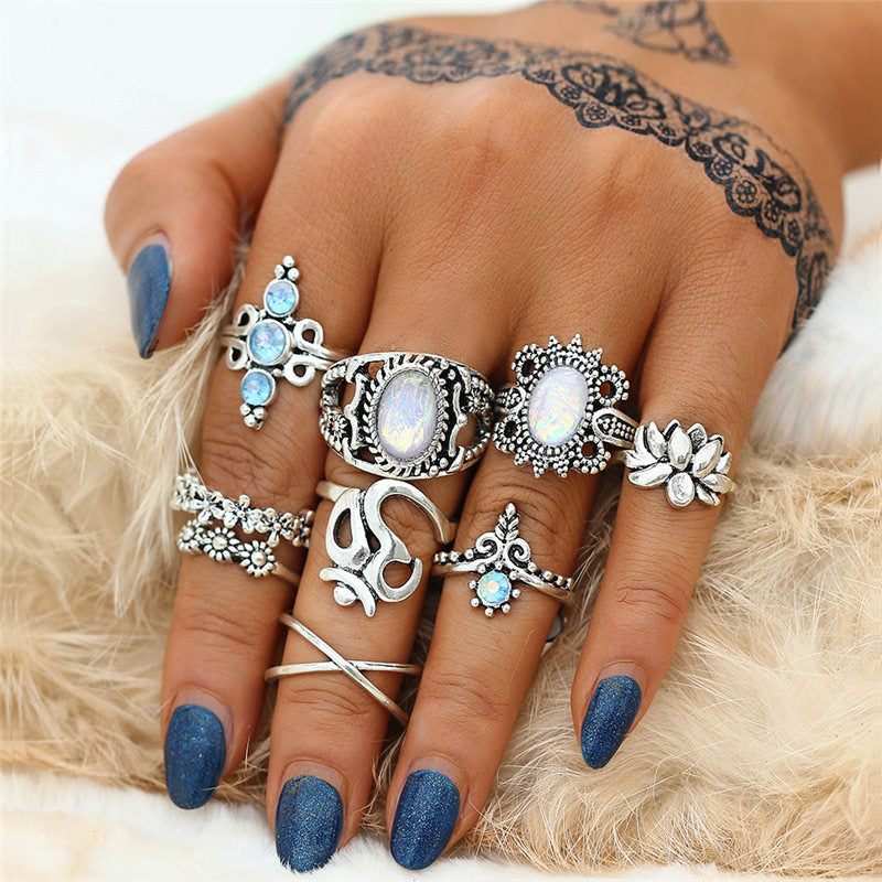 Bohemian Flower Ring Set