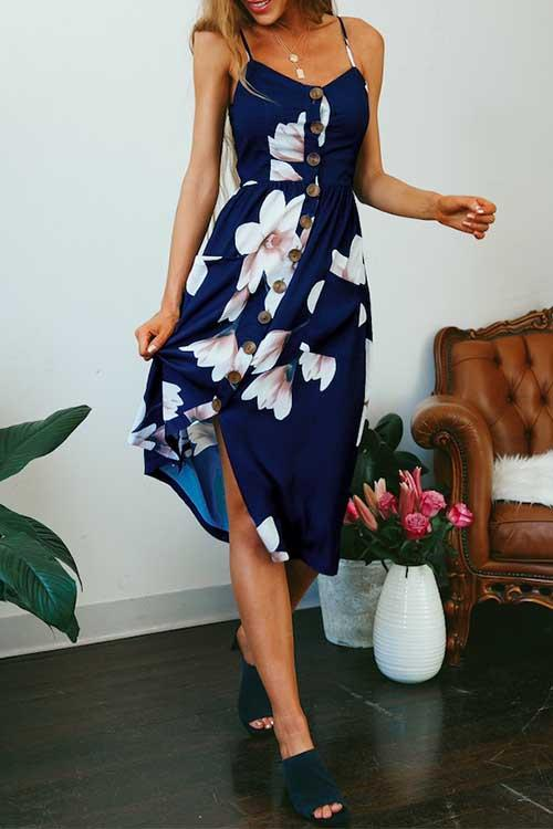 Oceanic Blue Midi Dress