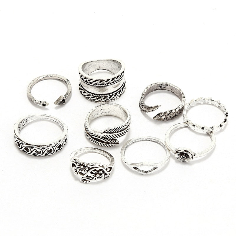 Knuckle Leaves Ring Set