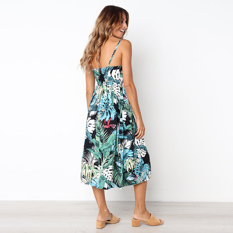 Blue Hawaiian Midi Dress