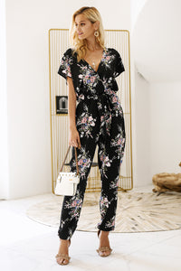 Dark Floral Overall Jumpsuit