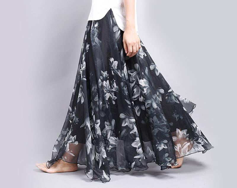 Sheer Twirl High-Waist Skirt