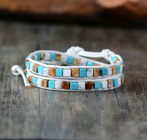 Handmade Bohemian Beads Leather Bracelet