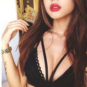 sexy black halter neck bra