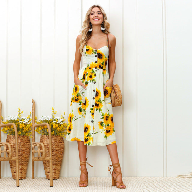 Simple floral yellow boho dress