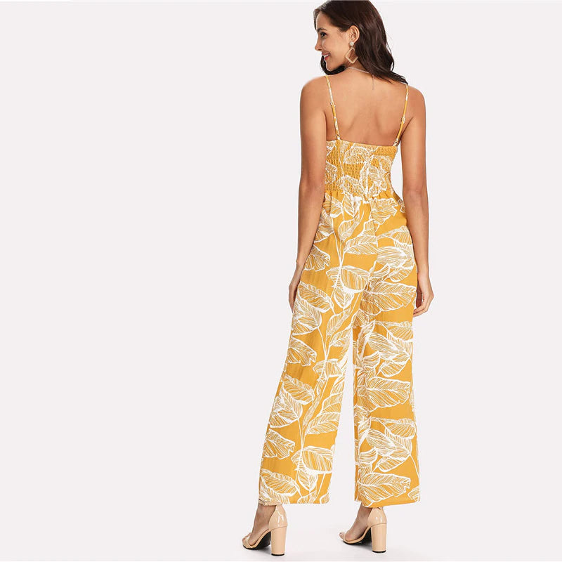 Palm Leaf bohemian Jumpsuit