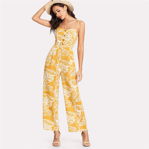 Tropical Palm Leaf Jumpsuit