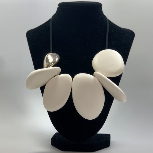 BELART: Necklace; Eco-Resin White with Silver Leaf