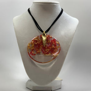 BELART: Necklace; Eco-Resin Circle with Gold Leaf