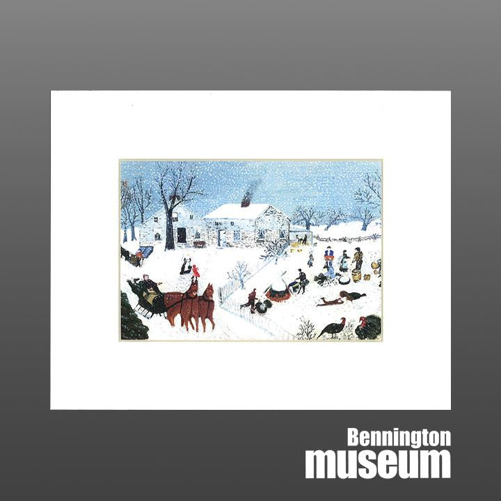 Grandma Moses: Matted Print, 'Catching the Turkey'