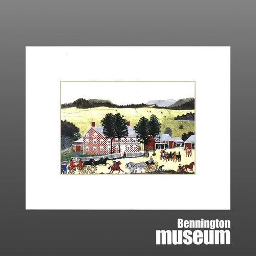 Grandma Moses: Matted Print, 'The Old Checkered House'