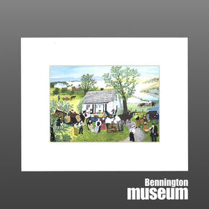 Grandma Moses: Matted Print, 'Moving Day on the Farm'