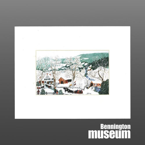 Grandma Moses: Matted Print, 'Sleigh Ride'