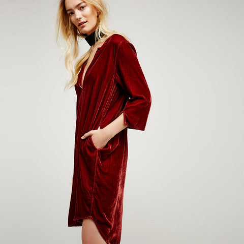 Casual Velvet Split Dress
