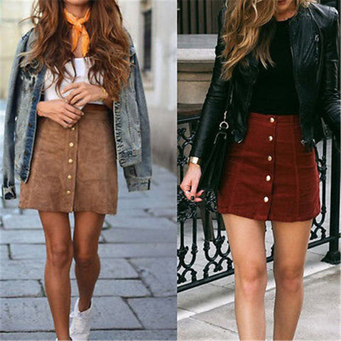 Suede Leather A-Line Mini Skirt
