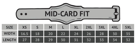 Midcard Fit Size Chart