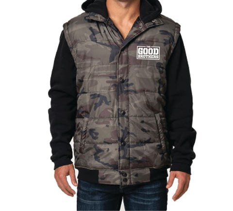 Good Brothers Camo Puffer Vest Hoodie
