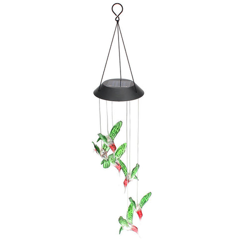 Humming Bird Solar Power Wind Chime w/LED light