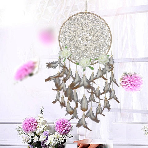 White Lace Flower Dreamcatcher