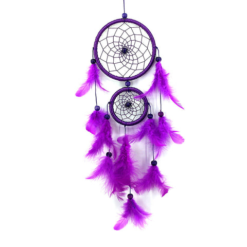 Double Ring Purple Feather Dreamcatcher