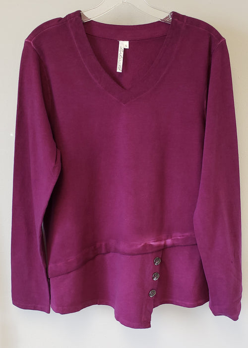 V-neck sweatshirt with buttons