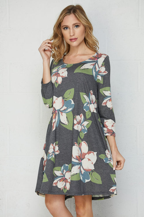 Gray Floral Dress