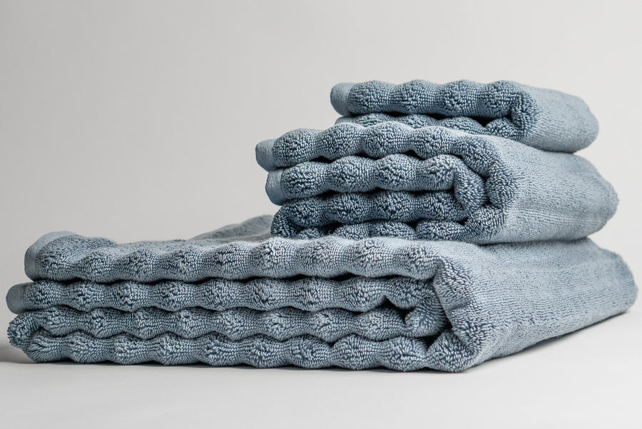 Antimicrobial Nutrl Home Blue Bath Towel Set Supima Cotton Polygiene Silver