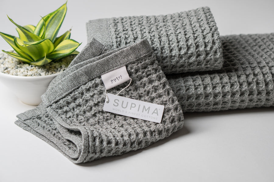 Nutrl Home Antimicrobial Waffle Weave Grey Washcloth Supima Cotton