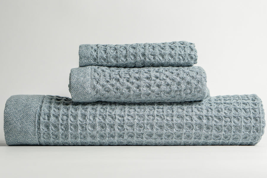 Antimicrobial Nutrl Home Blue Waffle Bath Towel Set Polygiene Supima