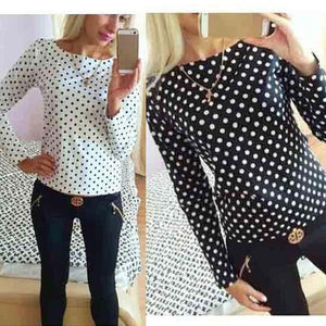 New Women Fashion New Round Collar camisa dot chiffon wave point long-sleeved shirt clothes Female