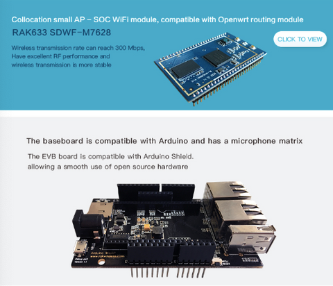 WisAP - Open Source OpenWRT WiFi Router Development Module Board (MT7628  based) - Arduino IoT Gateway and WiFi repeater / access point module