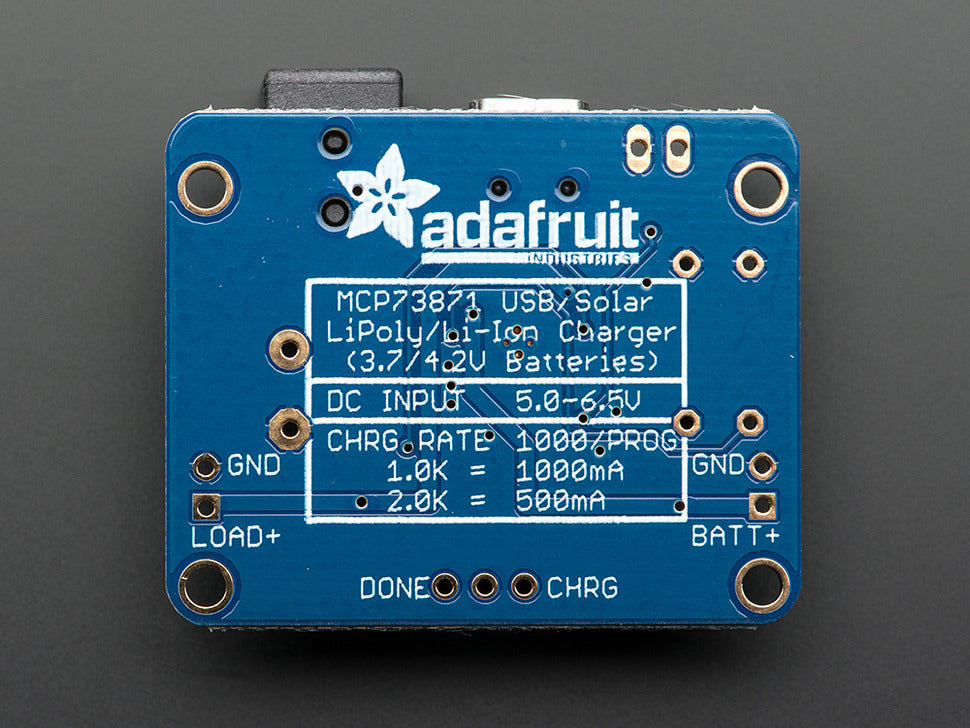 Adafruit USB/DC/Solar Charger Board (Bottom View)