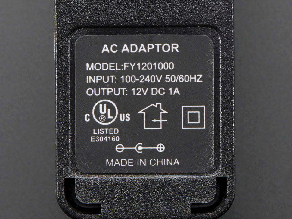 12 VDC 1000mA Switching Power Adapter Spec