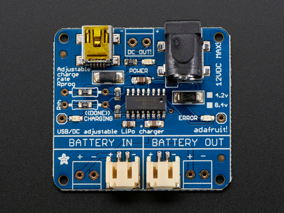 Adafruit USB/DC Lithium Polymer Battery Charger Top