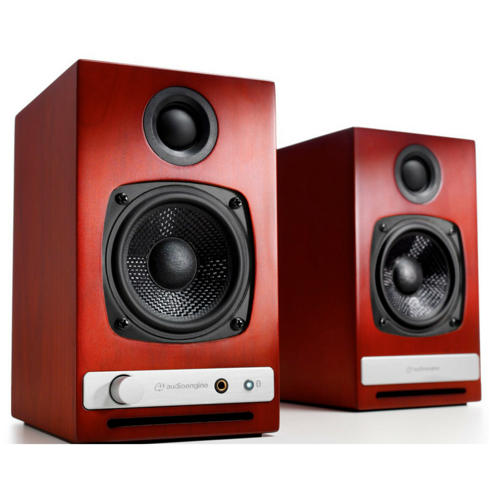 Cherry Audioengine HD3 Speakers with the grill