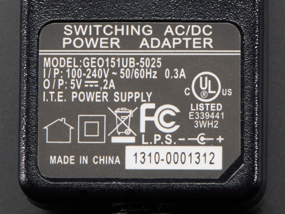 5V 2A (2000mA) Switching Power Supply Spec