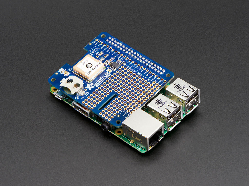 Adafruit Ultimate GPS HAT Mini Kit Stacked Side