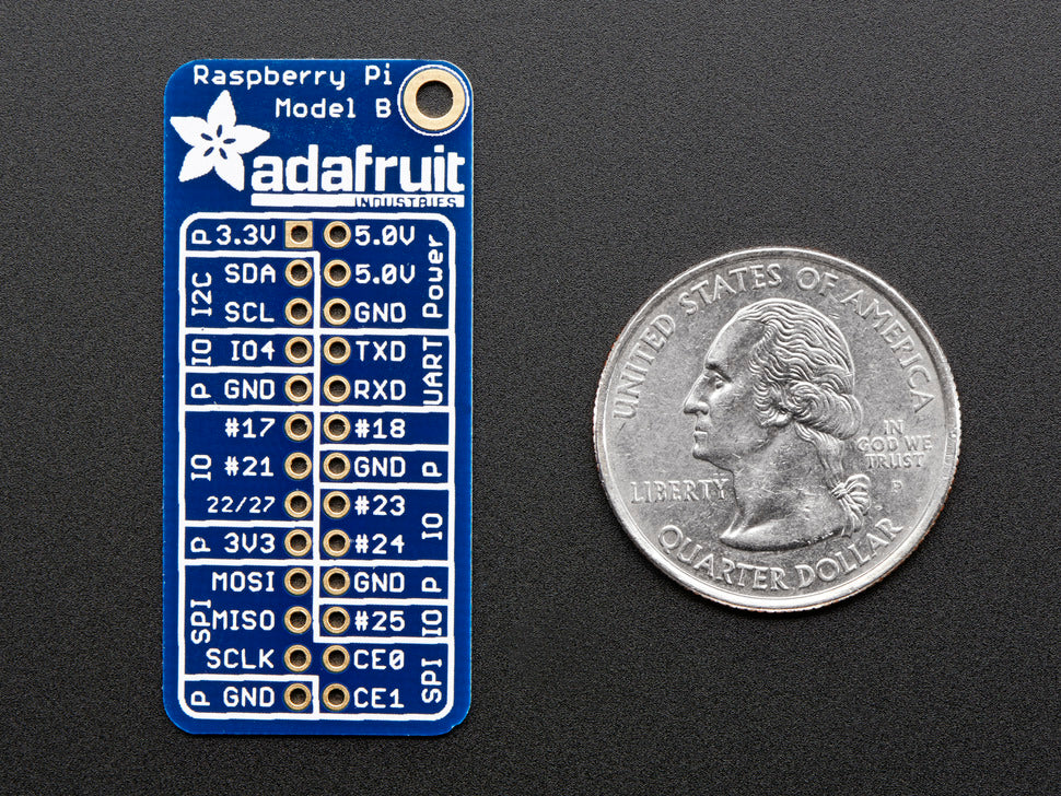 Adafruit GPIO Reference Card RasPi B Top