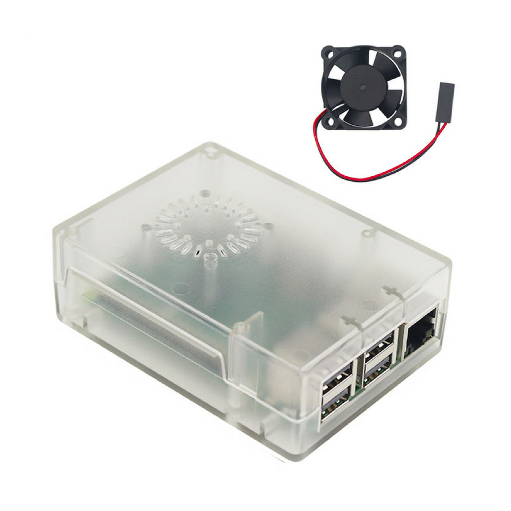 Raspberry Pi 3 Model B Case With Cooling Fan White Black Transparant Transparent