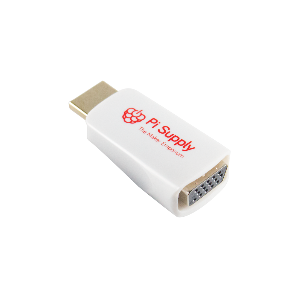 Pi Supply Raspberry Pi HDMI to VGA Adapter White