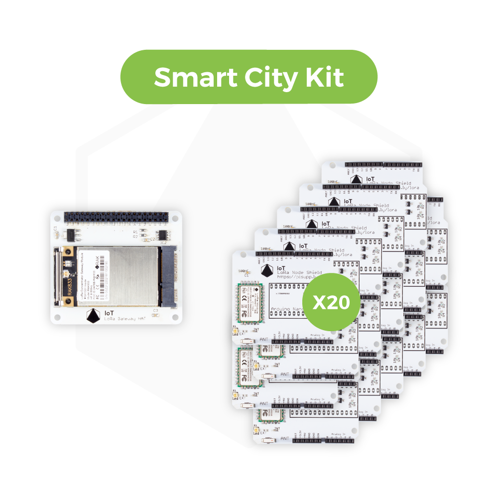 IoT LoRa Smart City Kit - 20 x IoT LoRa Node Shield and 1 x IoT LoRa Gateway HAT