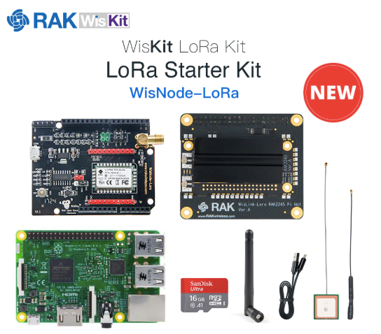 RAK2245 Pi HAT & Raspberry Pi 3B+ & WisTrio LoRa Tracker & 16G TF Card LoRaWAN Kit