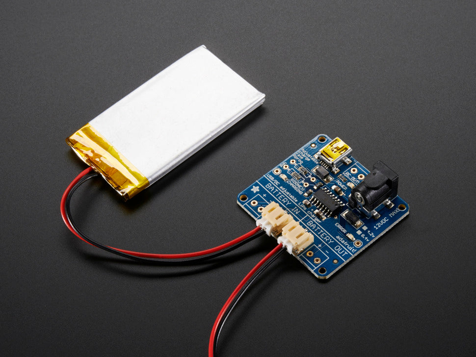 Adafruit USB/DC Lithium Polymer Battery Charger w/Battery (not included)